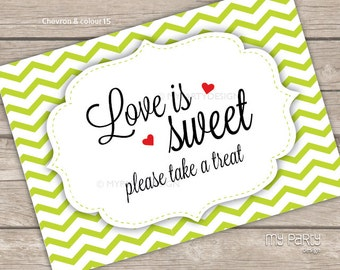 Love is Sweet, Take a Treat - PRINTABLE Sign in Your choice of colour! - Digital PDF file