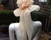 1960s Ivory and Peach Wedding Hat with Float Chiffon Hat Band and Floppy Chiffon Brim