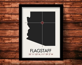 Flagstaff Latitude Longitude Map Art City Print 11 x 14