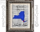 Customized Any State Map w/ Names, Date and Location on Vintage Upcycled Dictionary Art Print Book Anniversary Wedding Love Romance