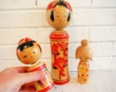 Vintage Kokeshi doll collection Japanese Decor wooden figurines travel decor