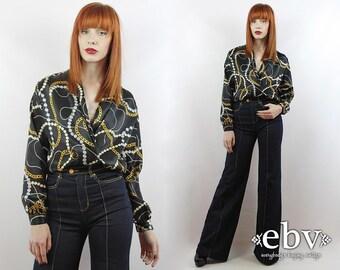 Vintage 90s DEEP V Black Chain Print Blouse S M L Black Blouse Button Up Blouse Longsleeve Blouse Secretary Blouse Button Down Blouse