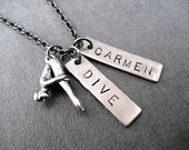 DIVE Necklace with Custom Name, Date, School or Year Pendant - Diving Necklace on 18 inch gunmetal chain - Diver - Dive Team Name Necklace