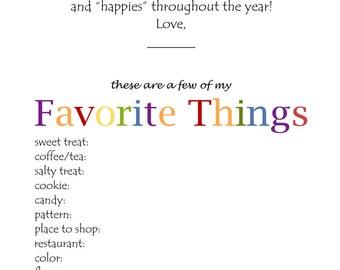 """Teacher """"Favorite Things"""" Letter"""