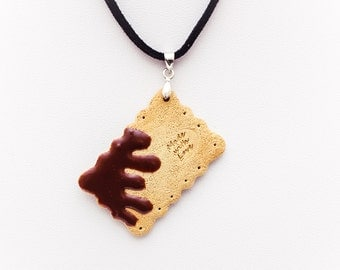 Cookie Necklace - square dripping chocolate biscuit