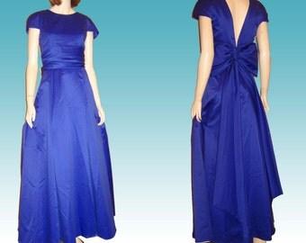 70s UNWORN Formal Gown ROYAL BLUE Low Back Bust 37 by Jordan Prom Bridesmaid