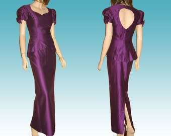 UNWORN 60s-70s Hourglass Princess Formal Suit wPeplum Blazer by Charisma in Grape Bust 34