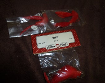 Flocked Red Birds Vintage Craft Supplies New in Package