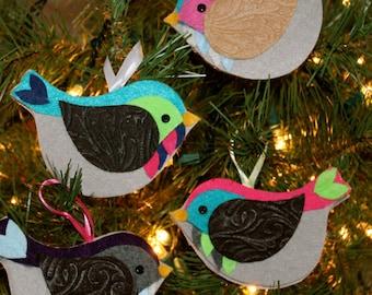 Set of 4 Random EcoFriendly Felt Bird Christmas Tree Ornaments