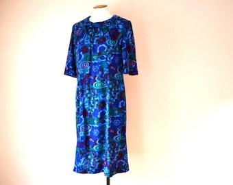 25 Sale.Blue Jersey Dress. 1960's Mod Geo Print. Cowl Neckline. Modern Size Large - VDS121