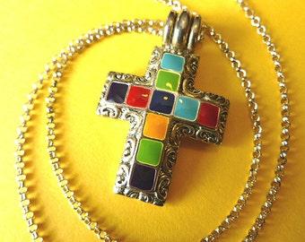 Colorful Enamel Cross, Vintage Cross Pendant, Cross Necklace, Southwestern Cross & Neck Chain, Designer Cross Necklace