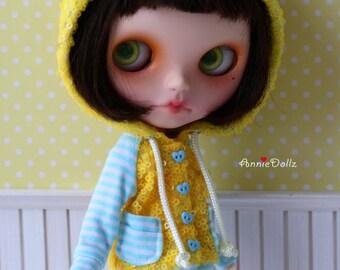PO - Anniedollz Handmade Blythe Outfits Fluorescent Sequins Hoodie - Lemon