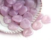Pink Rose Petals, Pale opal pink, czech glass beads, 8x7mm, small petal beads, flower beads, top drilled - 25Pc - 1392