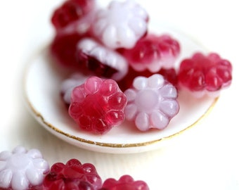 Czech Flower beads - Two colored White and Cherry Red, glass flat daisy - 9mm - 20Pc - 0190