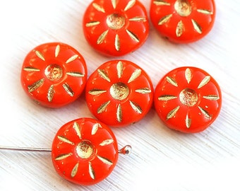 Orange beads, Czech glass beads - Orange with Golden inlays flower beads, coin beads, table cut, flat - 12mm - 6Pc - 1356