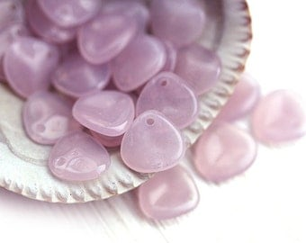 Rose Petals, Pale opal pink, czech glass beads, 8x7mm, small petal beads, flower beads, spacers, top drilled - 25Pc - 1392
