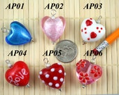 Beautiful Handmade Heart Lampwork Glass Bead/Pendant/Charm L10113
