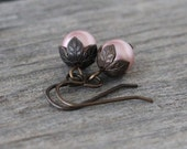 Pink Pearl Earrings: Powder Rose Swarovski Crystalized Element Drops with Brown Antiqued Brass, Vintage Inspired, Romantic Earrings
