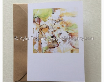 Fine Art Greeting Card, A6 Sized - Contemporary, Abstract, Figurative, Leaves, Australian Landscape Kylie Fogarty, Blank Greeting Card