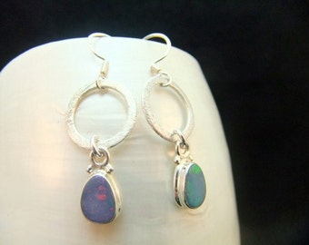 Australian Opal Silver Earrings Birthstone Sterling Silver Handmade Bezel Set Gemstone Drop Earrings