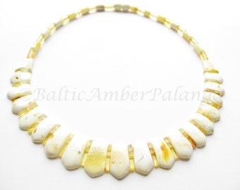 Luxury White Baltic Amber Choker