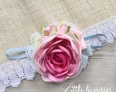 Shabby Chic Blue Velvet - Pink, Satin, Flower, Satin and Chiffon Headband, Pastel, Pink, White, Cream, and Blue and Pink Velvet