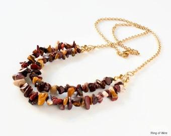 Burgundy Bead Necklace, Double Strand Necklace, Jasper Chip Necklace, Mookaite Bead Necklace, Chunky Bead Necklace, Gemstone Jewelry