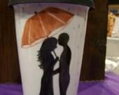 Love Under the Umbrella on a Rainy Day Porcelain Travel Mug