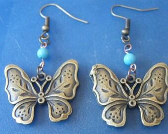 Butterfly Earrings! Bronze Butterfly Charm, Turquoise Bead, Dangle Earrings! OOAK! Coachella Earrings, Birthday Gift, Holiday Gift, For Her