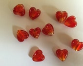 Red Hearts Glass Beads Foil Lined (12mm) Jewelry Making Hearts Beads - 10 beads