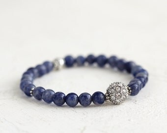 Blue Aventurine and Crystal Pave Bracelet - Blue Stone and Pave Stacking Bracelet