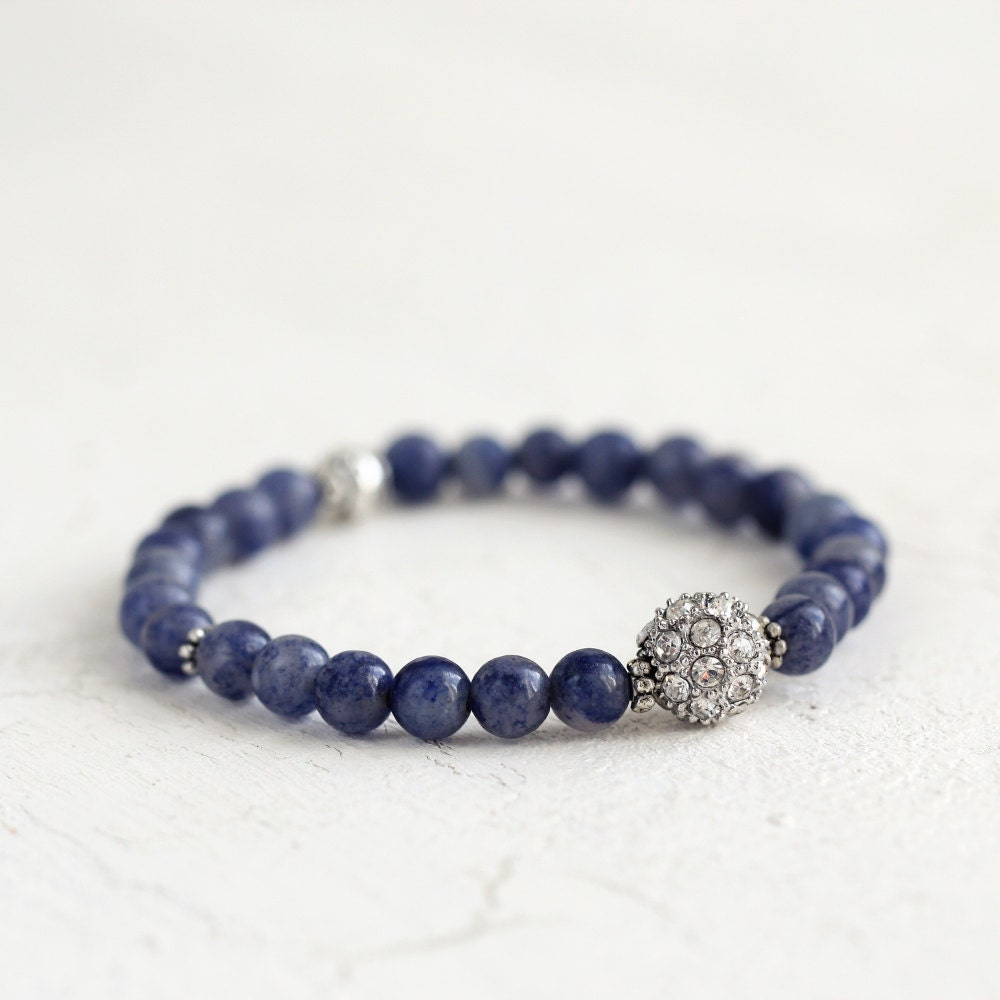 Blue Aventurine Bracelet - Crystal Pave Bracelet - Blue Stone Bracelet - Aventurine Bracelet - Gift For Women - Pave Stacking Bracelet