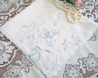 1950's Vintage White Hanky, Light Blue Raised Embroidery, Shadow Work Rose, Hand Rolled Hems