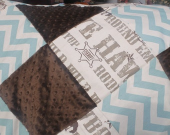 Baby Boy Crib Bedding - Brown Cowboy, Brown Minky, and Village Blue Chevron Crib Baby Bedding Ensemble with Patchwork Blanket