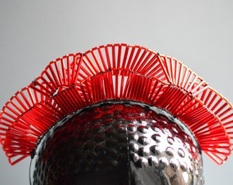 Red Art Deco inspired beaded theatrical fantasy Headpiece:  ready to ship one off piece