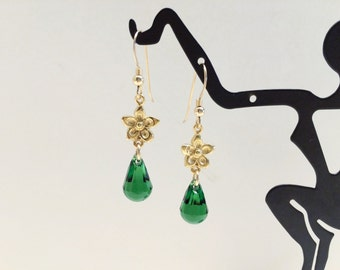 Floral and Green Crystal Dangles in Yellow Gold - FREE SHIPPING