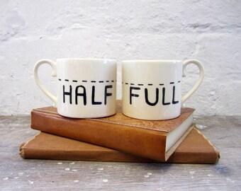 Half Full TypographyMug