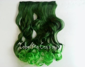 Green Dip Dyed Mermaid Gradient Ombre Wavy Synthetic Clip In Hair Extensions Hair Piece
