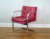 Pair of Vintage Mid Century Chairs - Red and Chrome - Brno Chair Style - Mies van der Rohe Style - Mid Century Modern Chair