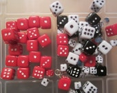 Red and Black Dice Necklace with Stars