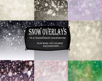 Let it Snow Overlay for Photoshop Gently Fallen Snow Heavy Snow Boken TransparentTextures For Creatives in Photoshop Scrapbooking Hi Res Fun