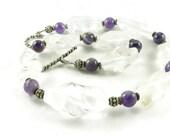 Crown Chakra Crystals - Amethyst Gemstone - Quartz Crystal - Chunky Statement Necklace - Artisan Jewelry