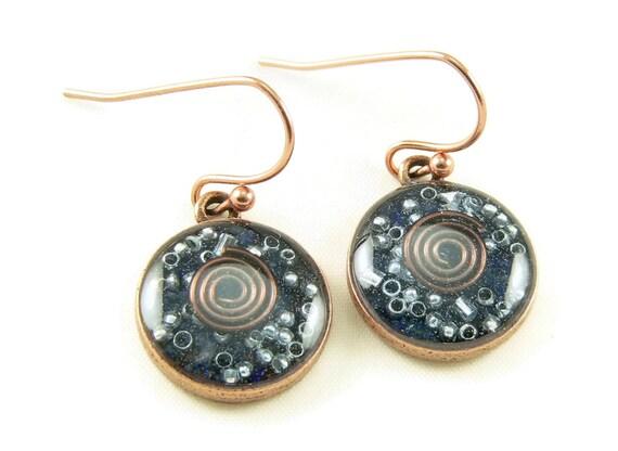 Orgone Energy Earrings - Lapis Lazuli and Copper - Small Dangle Earrings - Positive Energy Generator - Artisan Jewelry