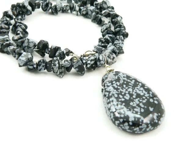Snow Storm at Night - Snowflake Obsidian Statement Necklace - Gemstone Necklace - Unisex Necklace - Artisan Jewelry