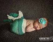 Teal Shabby Rosette Headband...Newborn Headband...Baby Girl Headband...Baby Bows...Photo Prop...Shabby Rosette...Newborn