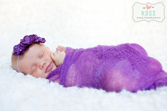 Plum Cheesecloth Baby Wrap...Cheesecloth Wrap...Photography Props...Baby Bows...Baby Girl Headband