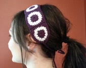 Purple & White Granny Square Headband with Ties