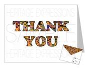 Printable Kente Thank You Card & Matching Envelope Template - DIY Digital PDF Files - 8.5x11