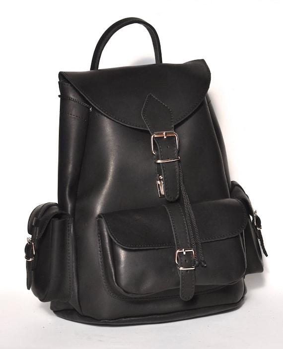 Large leather backpack / Women/Men black leather backpack
