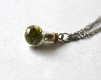 Moss Terrarium in Miniature Orb Pendant Necklace
